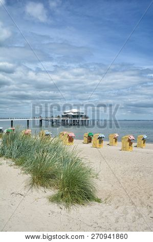 Beach And Landing Stage Of Timmendorfer Strand At Baltic Sea,schleswig-holstein,germany