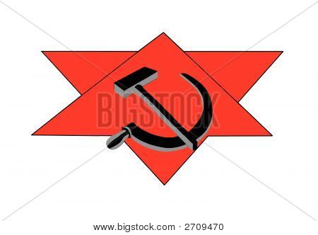 Sickle hammer and the red star isolated on white poster