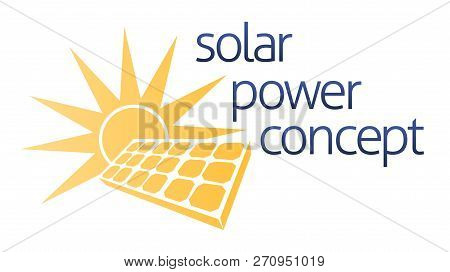 A Solar Panel Energy Concept Icon Of Sun And Solar Panel Photovoltaics Cell With A Sun
