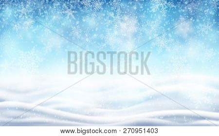 Illustration Of Snowfall, Background For Christmas And New Year Greeting Cards, And Invitations, And