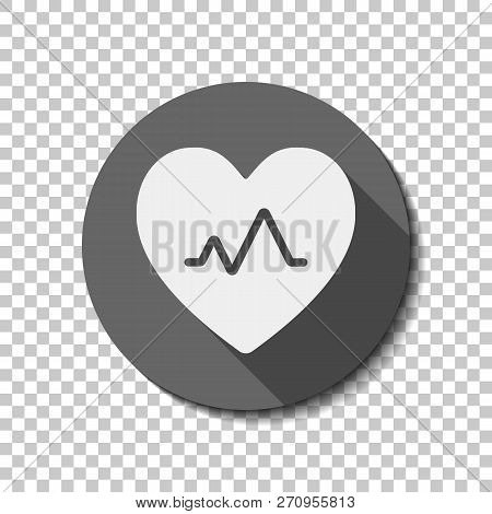 Cardiac Pulse. Heart And Pulse Line. Simple Single Icon. White Flat Icon With Long Shadow In Circle