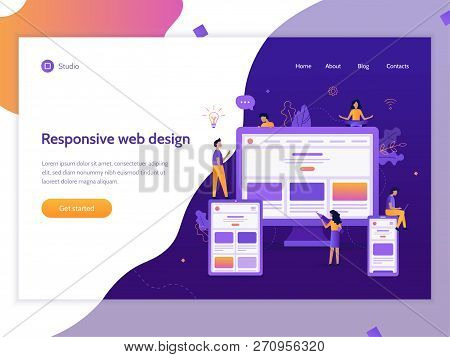 Developers Create Responsive Web Design For Different Devices. Web Banner Template. Website Developm