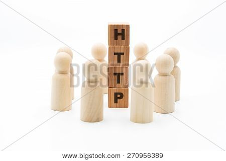 Wooden Figures As Business Team In Circle Around Word Http, Isolated On White Background, Minimalist