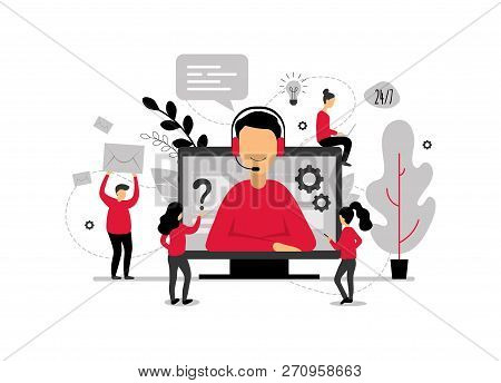 Technical Support Online, Operator Is Talking To The Client, 24h Customer Service For Web Page, Hotl