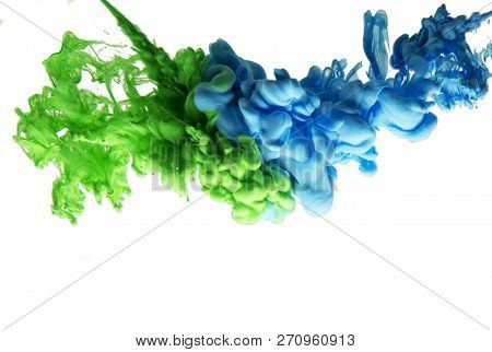 Ink In Water Green Blau Smoke Acrylic Art Colorful Abstract Background Isolated