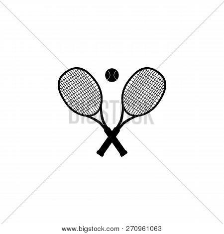 Tennis Ball And Tennis Racquet, Vector Illustration. Tennis Design Over White Background Vector Illu