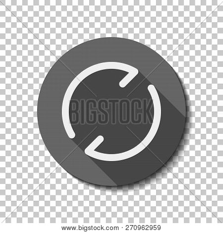 Simple arrows, update, reload. Navigation icon. Simple arrow, backward. Navigation icon. Linear symbol with thin line. One line style. White flat icon with long shadow in circle on transparent background. Badge or sticker style poster