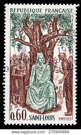 Luga, Russia - January 31, 2018: A Stamp Printed By France Shows Louis Ix King Of France Commonly Kn