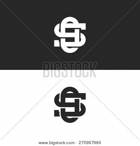 Linked Ornate Symbols So Or Os Letters Monogram Logo Overlapping Lines Style, Intersection Two Lette