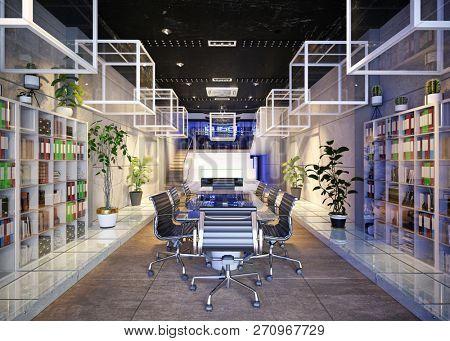 modern conference meeting room design. 3d rendering concept