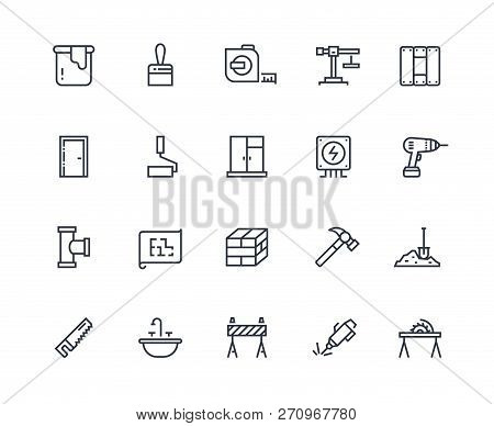 Build Line Icons. Home Construction Materials, Digging And Painting Repair. Maintenance And Building