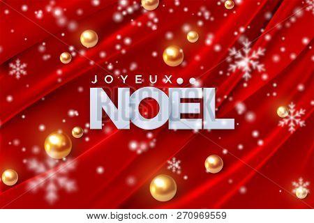 Joyeux Noel. Merry Christmas. Vector Illustration. Holiday Decoration Of White Paper Letters, Golden