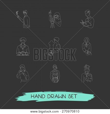 Set Of Person Icons Line Style Symbols With Assistant, Judgment, Teacher And Other Icons For Your We