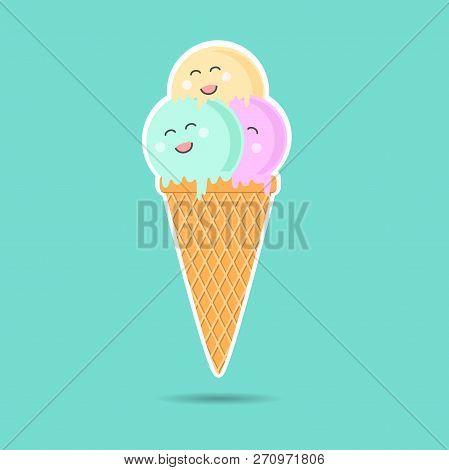 Cute Cartoon Ice Cream Character Poster