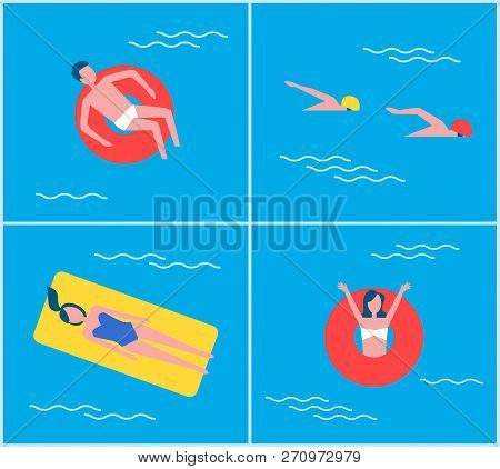 Cartoon Style People On Vacation Swimming In Pool Relaxing. People On Mattress Lifebuoy Lifeline Sum
