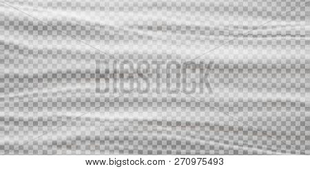 Realistic Plastic Polyethylene Wrap Vector Texture On Abstract Background.