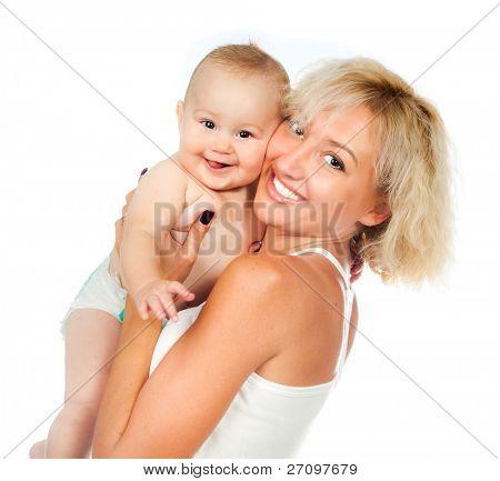 matka dziecka na białym tle