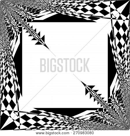 Arabesque Frame With Diagional Speers Black On Transparent Background