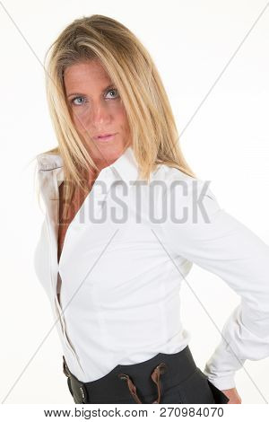 Portrait Of Middle Aged Forties Beautiful Business Woman On White Wall Background