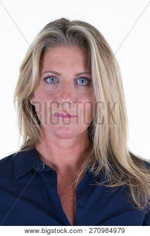 Beautiful Portrait Mature Blonde Woman Posing