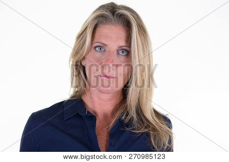 Id Passport Driver Licence Portrait Of Middle Aged Blonde Woman In White Background Look Serious