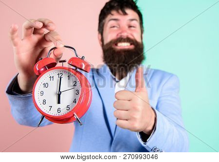 Hipster Happy Working Day Is Over. Businessman Finished On Time. Time Management Skills. Best Time O