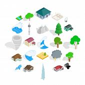 Terra icons set. Isometric set of 25 terra icons for web isolated on white background poster