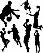 Vector Illustration silhouettes of basketball players jumping shooting scoring and passing. All are actively engaged in playing basketball poster