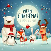 Merry Christmas and Happy New Year! Christmas Cute Animals Character. Happy Christmas Companions. Polar Bear, Fox, Penguin, Bunny and Red Cardinal Bird under the moonlight. Winter landscape. poster