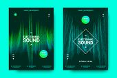 Electronic Music Poster. Sound Equalizer Vector Design. Amplitude of Wave Lines. Futuristic Flyer for Electronic Dance Event with Glow Effect. Sound Movement Concept. Electronic Festival Promotion. poster