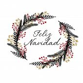 Feliz Navidad Hand Lettering Greeting Card. Merry Christmas in Spanish. Modern Calligraphy. Handwritten Christmas Decor poster