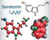 Serotonin molecule, is a monoamine neurotransmitter. Structural chemical formula and molecule model. Vector illustration poster