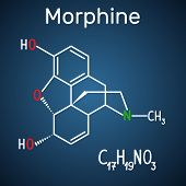 Morphine molecule. It is a pain medication of the opiate. Structural chemical formula and molecule model on the dark blue background. Vector illustration poster