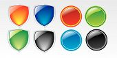 Web many color Icon Button Vector Illustrations poster