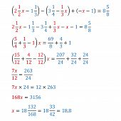 Algebraic equation with one variable simple fractions and mixed fractions equivalence equation poster