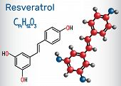 Resveratrol molecule. It is natural phenol, phytoalexin, antioxidant. Structural chemical formula and molecule model. Vector illustration poster