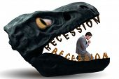 Businessman in crisis and recession concept poster