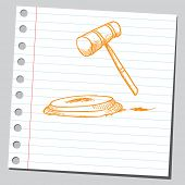 Sketch of a judge's gavel