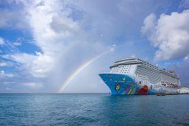 Oranjestad, Aruba: November 5, 2018: A Colorful Cruise Ship Called Norwegian Breakaway, Ncl, Docked