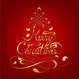 Elegant Merry Christmas Calligraphic Background