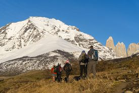Torres Del Paine, Chile - Sep 27, 2018: Tourists Start Hiking Up To Mirador Las Torres In Torres Del