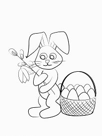 Easter Coloring. Black And White Raster Illustration For Coloring Book.easter Bunny With Willow And