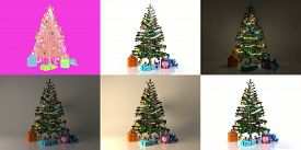 3d Christmas Tree Set. Christmas Tree In The Interior With Gifts, Pig Piggy Bank, Balls And A Garlan