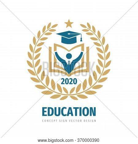 Education Badge Logo Design. University High School Emblem. Laurel Wreath.