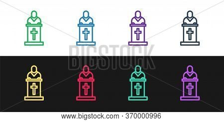 Set Line Church Pastor Preaching Icon Isolated On Black And White Background. Vector Illustration