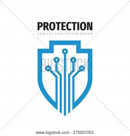 Data Protection - Logo Vector Illustration. Abstract Shield Symbol With Electronic Design Elements.