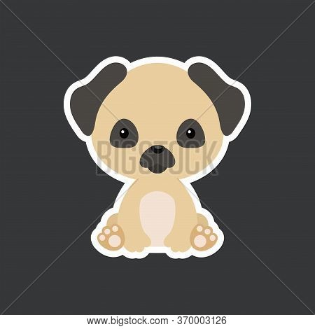 Sticker Of Cute Baby Pug Dog Sitting. Adorable Domestic Animal Character For Design Of Album, Scrapb