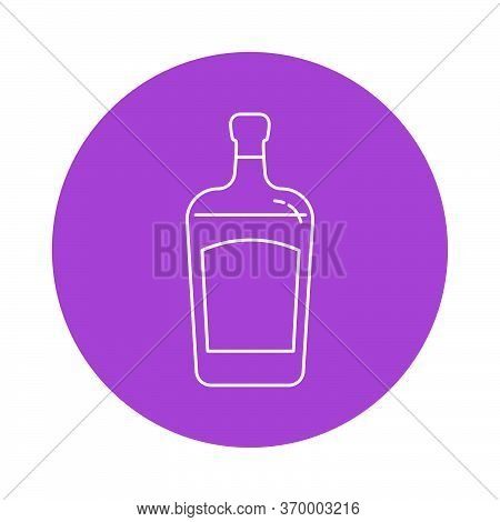 Illustration Of Bottle Of Liquor In Flat Style In Form Of Thin Lines. In The Form Of Background Is C