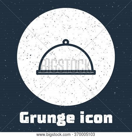 Grunge Line Covered With A Tray Of Food Icon Isolated On Grey Background. Tray And Lid. Restaurant C