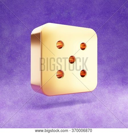 Dice Five Icon. Gold Glossy Dice 5 Symbol Isolated On Violet Velvet Background. Modern Icon For Webs